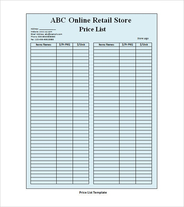 Price List Template For Retail