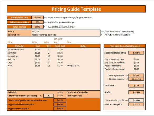 cogs spreadsheet etsy pricing list template
