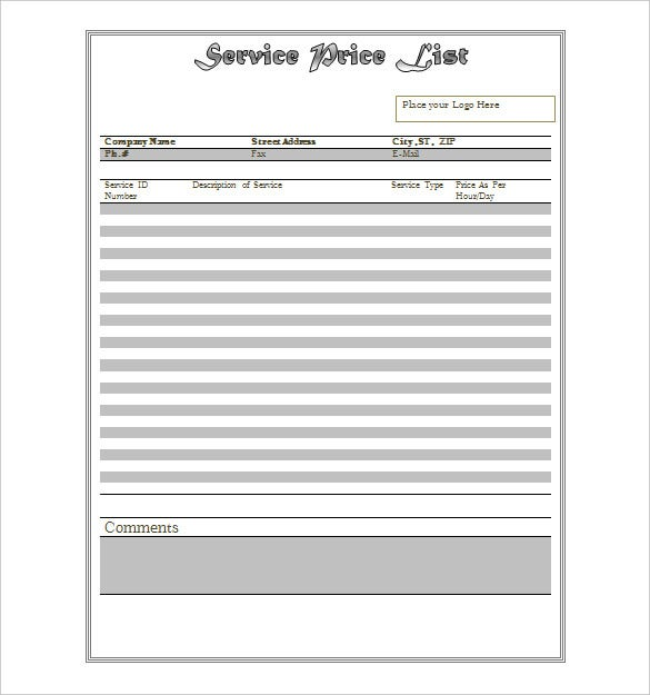 editable service price list template - Free Price List Template