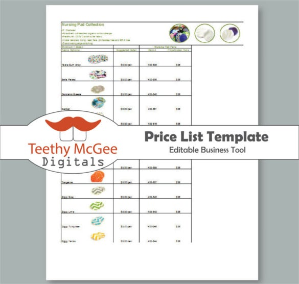 wholesale and retail price list template download