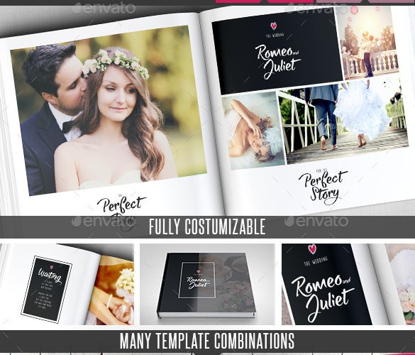 elegant wedding square photo album template indd download