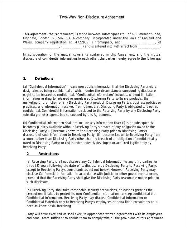 Two Way Non Disclosure Agreement Template