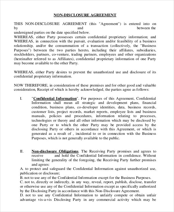 Non Disclosure Agreement Template   Free Word Pdf Documents