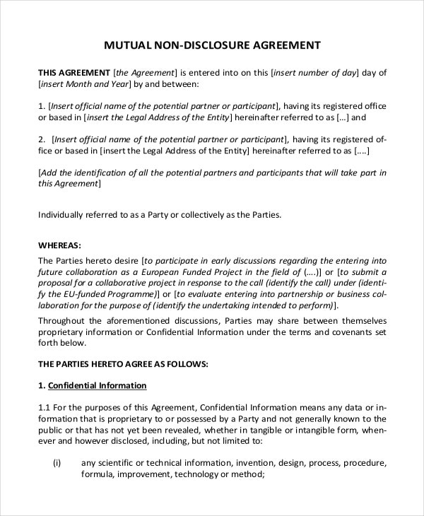 Non Disclosure Agreement Template 9 Free Word Pdf Documents