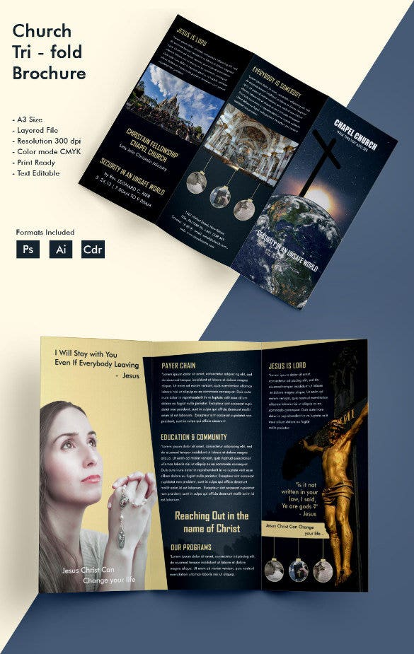 Ideal Church A3 Tri Fold Brochure