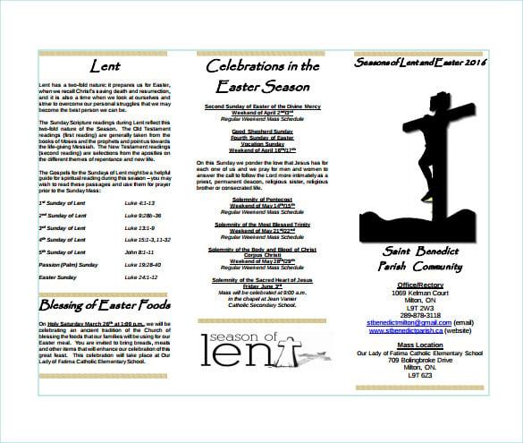 lent easter brochure sample template free download