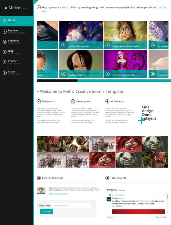 metro creative unlimited colors joomla html5 template