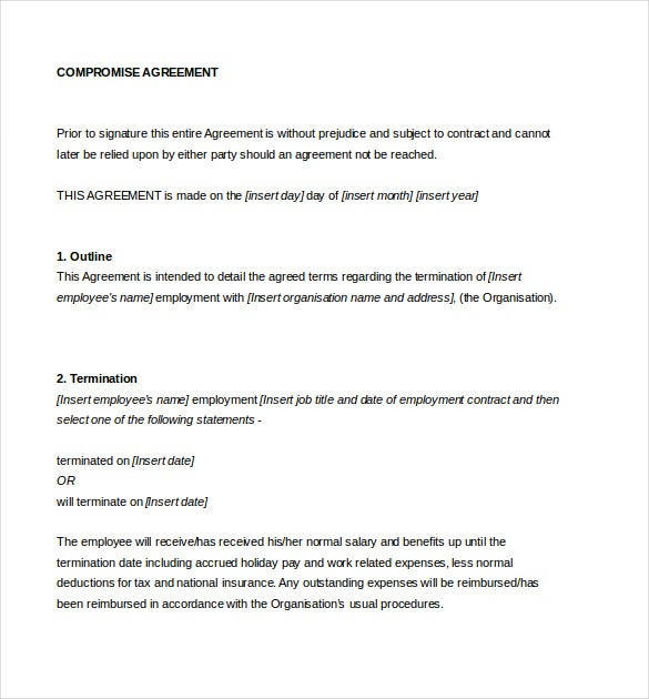 compromise settlement agreement document