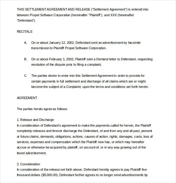 settlement agreement template 16 free word pdf document