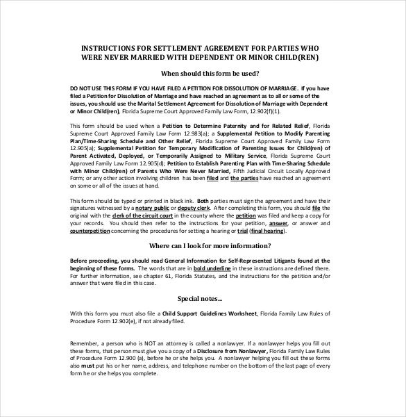 dependent settlement agreement template