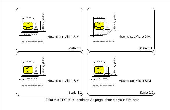 Good Free Download PDF Format Micro Sim Template