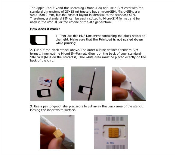 PDF Format Micro Sim Template For Iphone