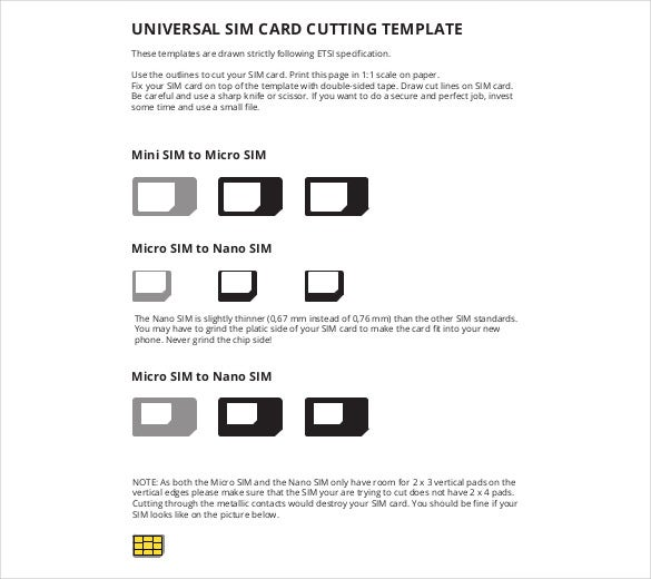Universal Sim Card Cutting Template Free Download PDF