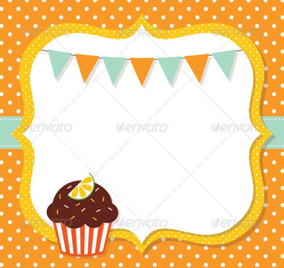 blank birthday template with cup cake