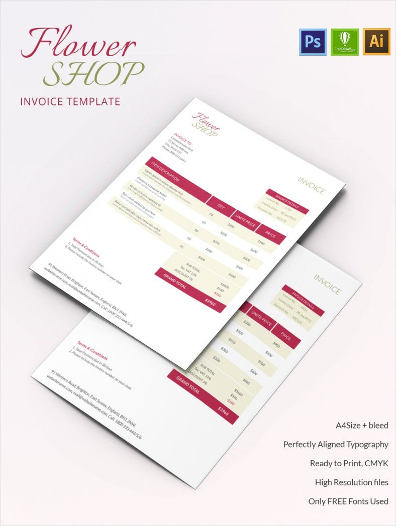 Classy Flower Shop A Invoice Template Free Premium Templates - Flower shop invoice template
