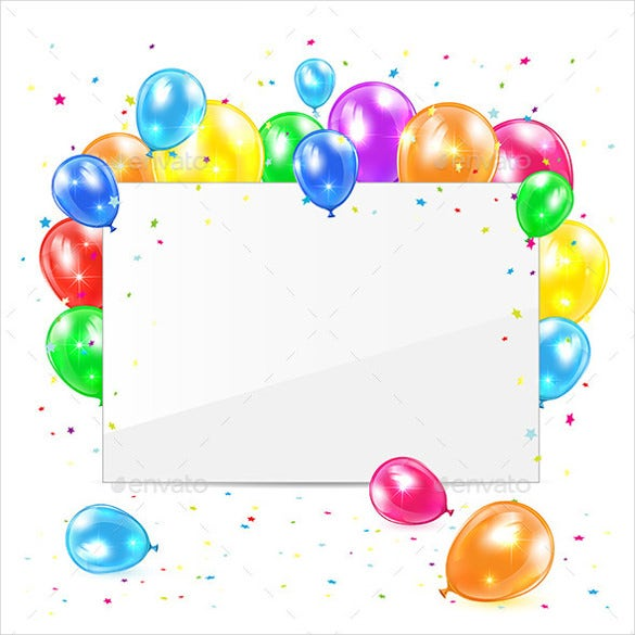 blank birthday template with balloons