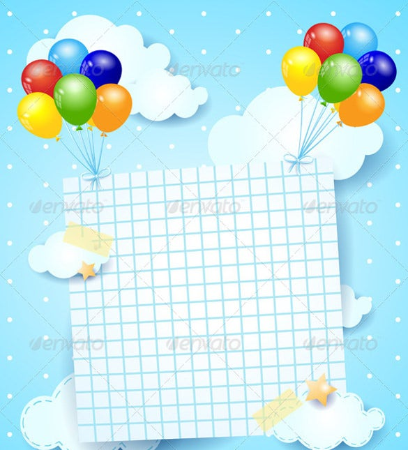 blank birthday template with colorful balloons