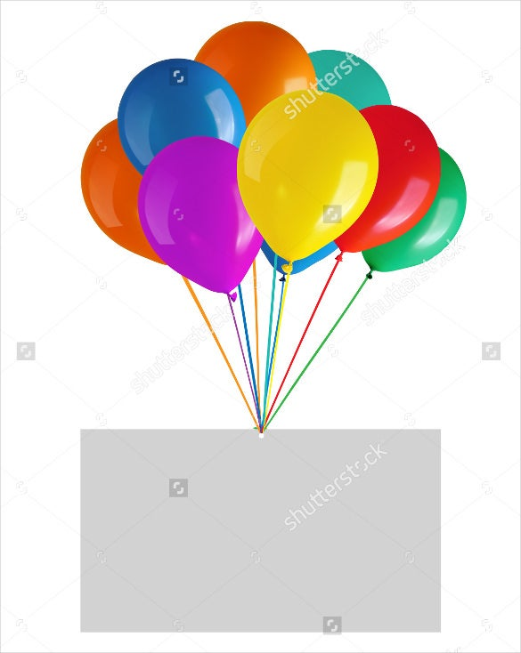 blank birthday card templates with flying balloons