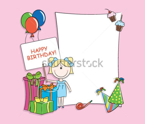blank birthday template with cartoon images