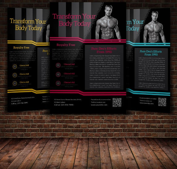 body fitness advertising flyer template