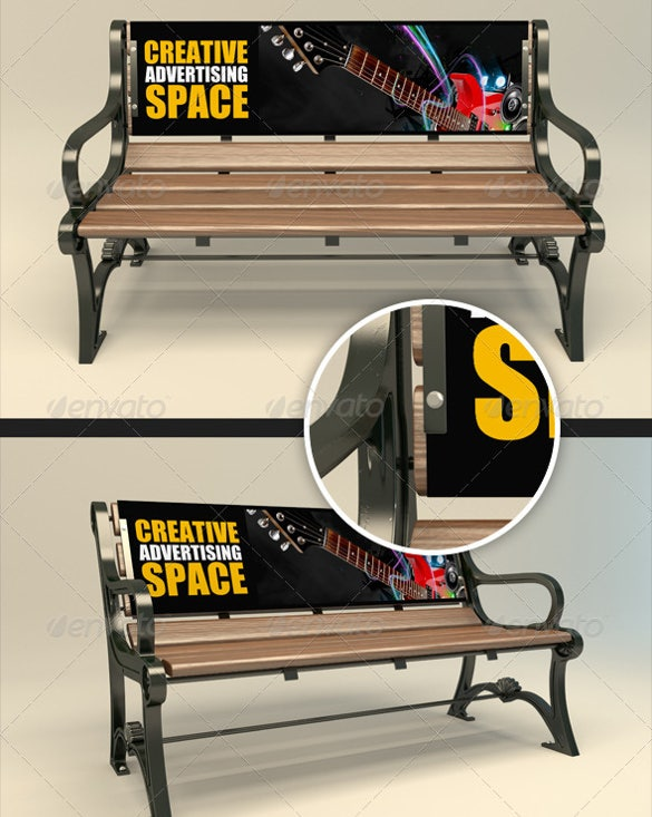 bench advertising mock up