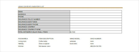moving inventory list Moving Inventory Template – 15  Free Excel, PDF Documents Download ...