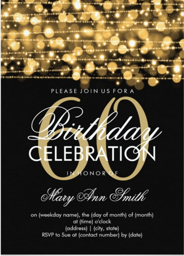 Elegant 60th Birthday Party Sparkles Invitation Download  Birthday Invitation Templates Word Free