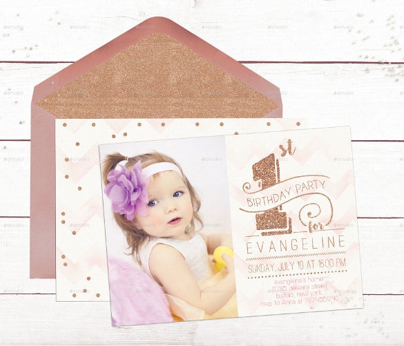 first birthday invitation card rose gold template psd