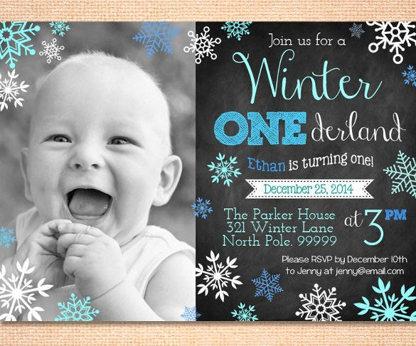 boy winter onederland birth invitation template download