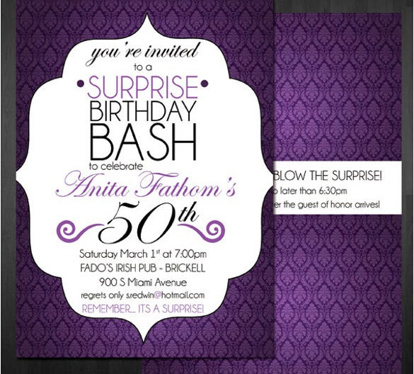 Marvelous Download Black And Purple Surprise Birthday Invitation Template  Birthday Invitation Template Word