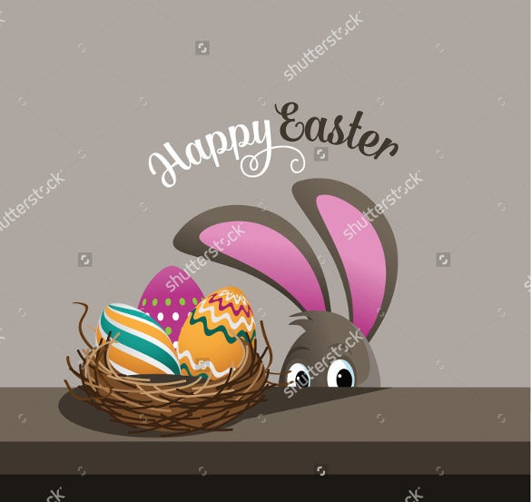 happy easter backgrond eggs and peeking bunny download