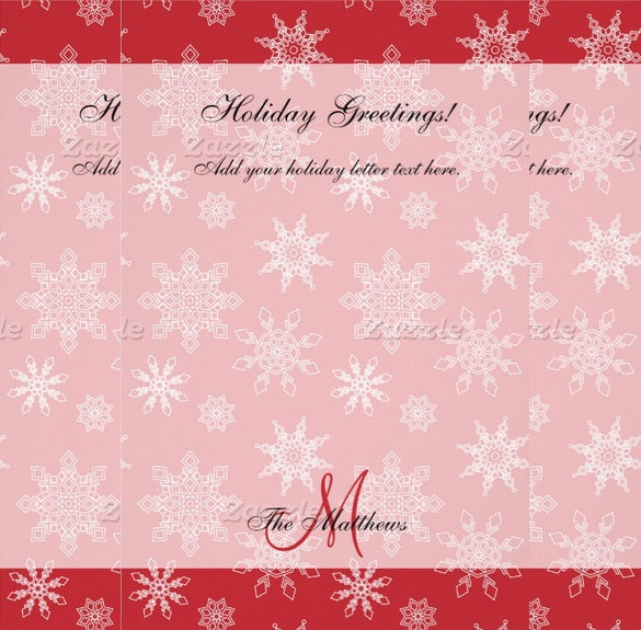 beautiful red holiday letter template2