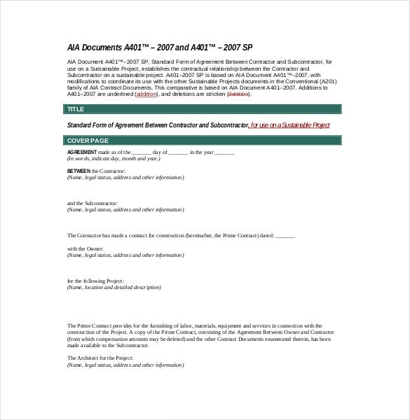 Subcontractor Agreement Template Free Word PDF Document - Aia contract template