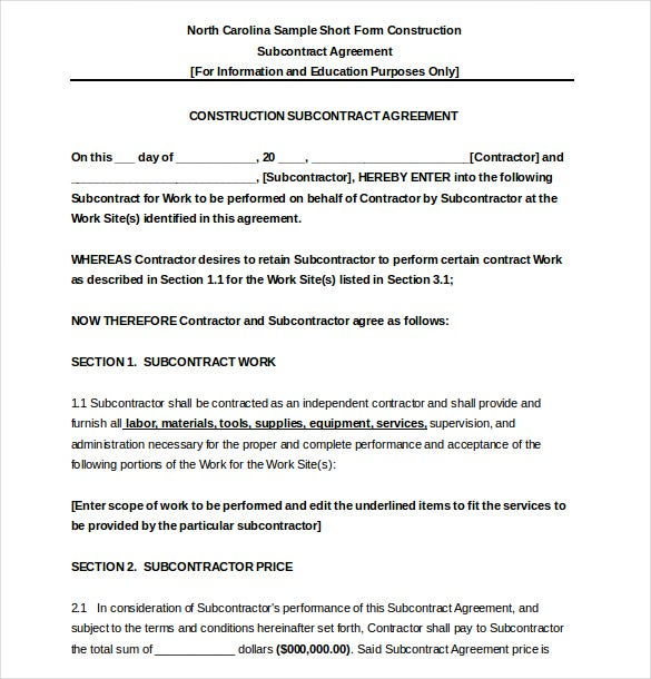 subcontractor agreement template 16 free word pdf With subcontractor agreements template