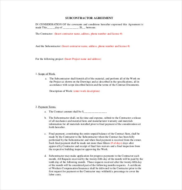 Subcontractor Agreement Template   Free Word Pdf Document