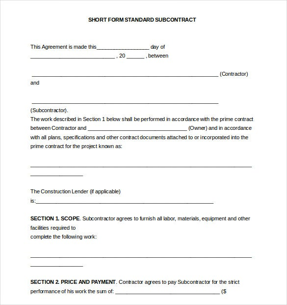 Subcontractor Agreement template 10 Free Word PDF Document – Simple Construction Contract Form