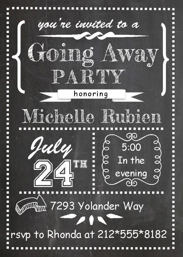 chalkboard going away farewell invitation template