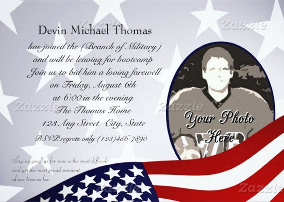 military farewell party paper invitation card template