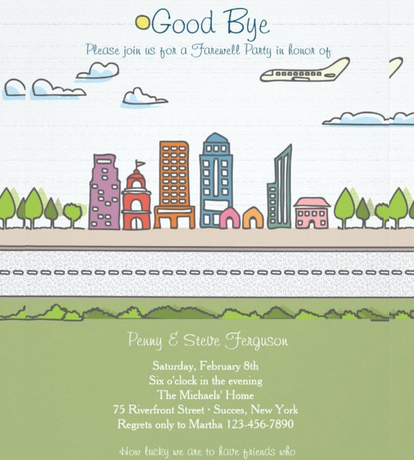 Lovely City Line Farewell Party Invitation Template Download