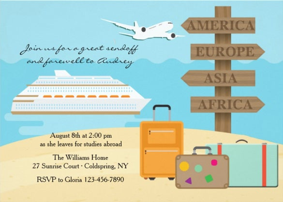 happy voyage farewell party invitation printable