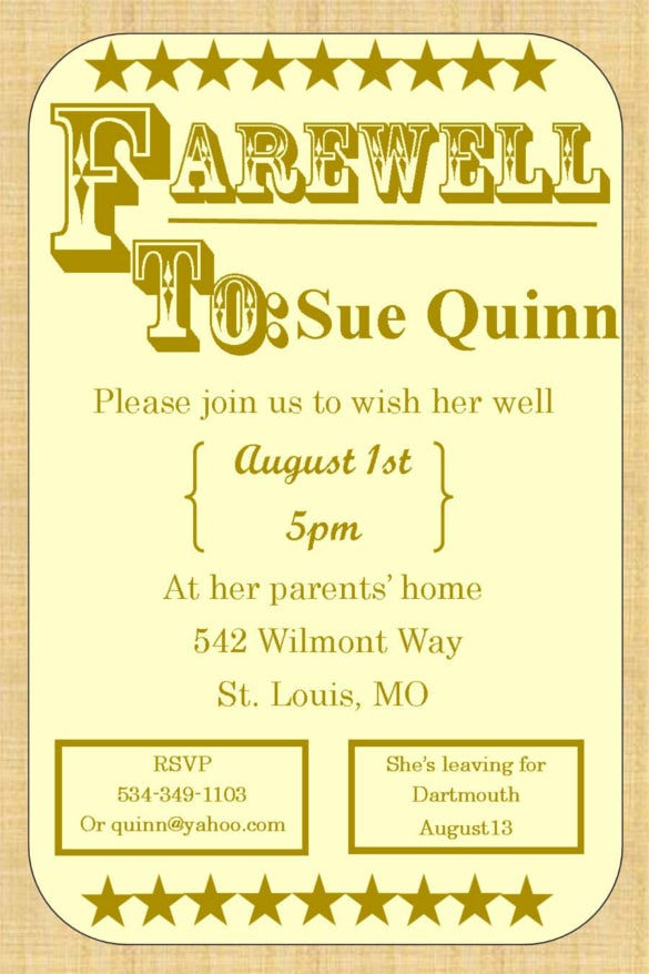 Farewell Party Invitation Template   Free Psd Format Download