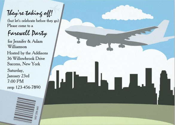 taking off farewell party invitation template download