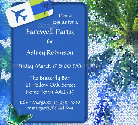 butterfly farewell or retirement party invitation template