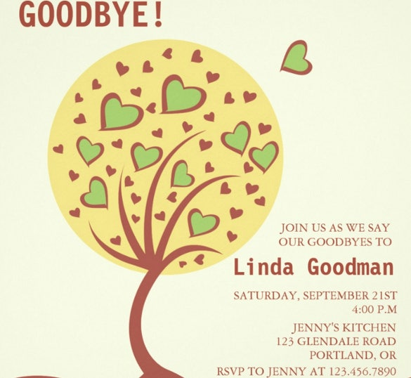 Heart Tree U2013 Farewell Party Invitation Template Printable  Free Invitation Templates