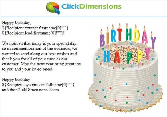 Great Birthday Email Template With Cake