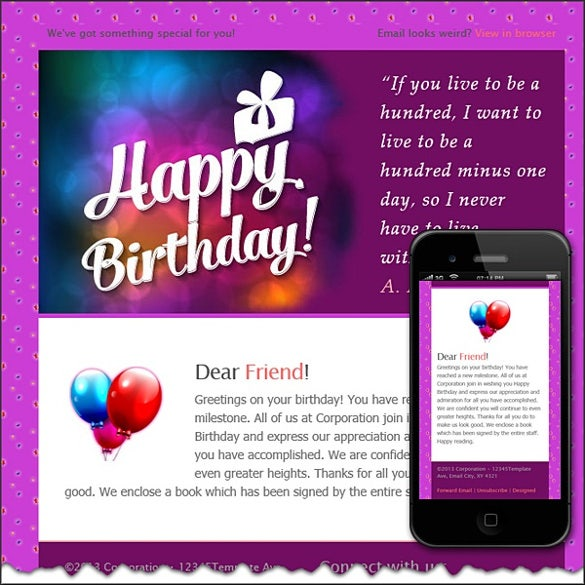 colorful birthday email template download