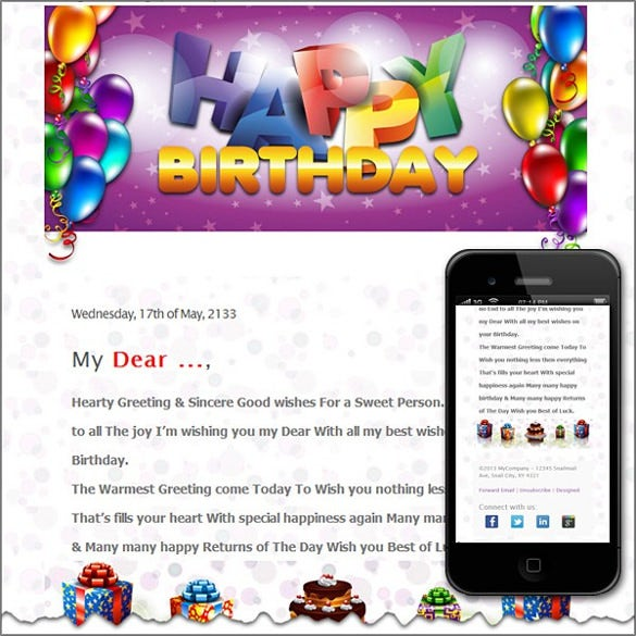 Birthday Email Templates  Free Sample Example Format