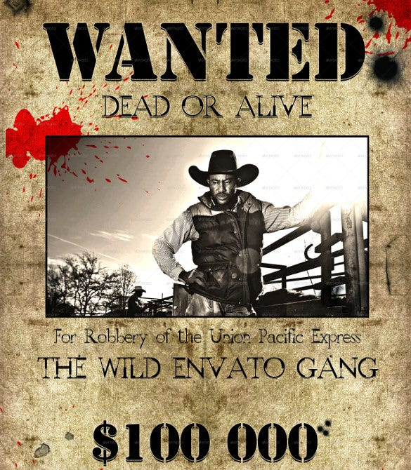 Wanted poster template 53 free printable word psd for Wanted dead or alive poster template free