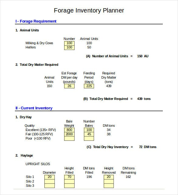 forage inventory planner management template