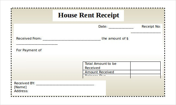 Rental Receipt Template 30 Free Word Excel PDF Documents – Receipt of House Rent Format